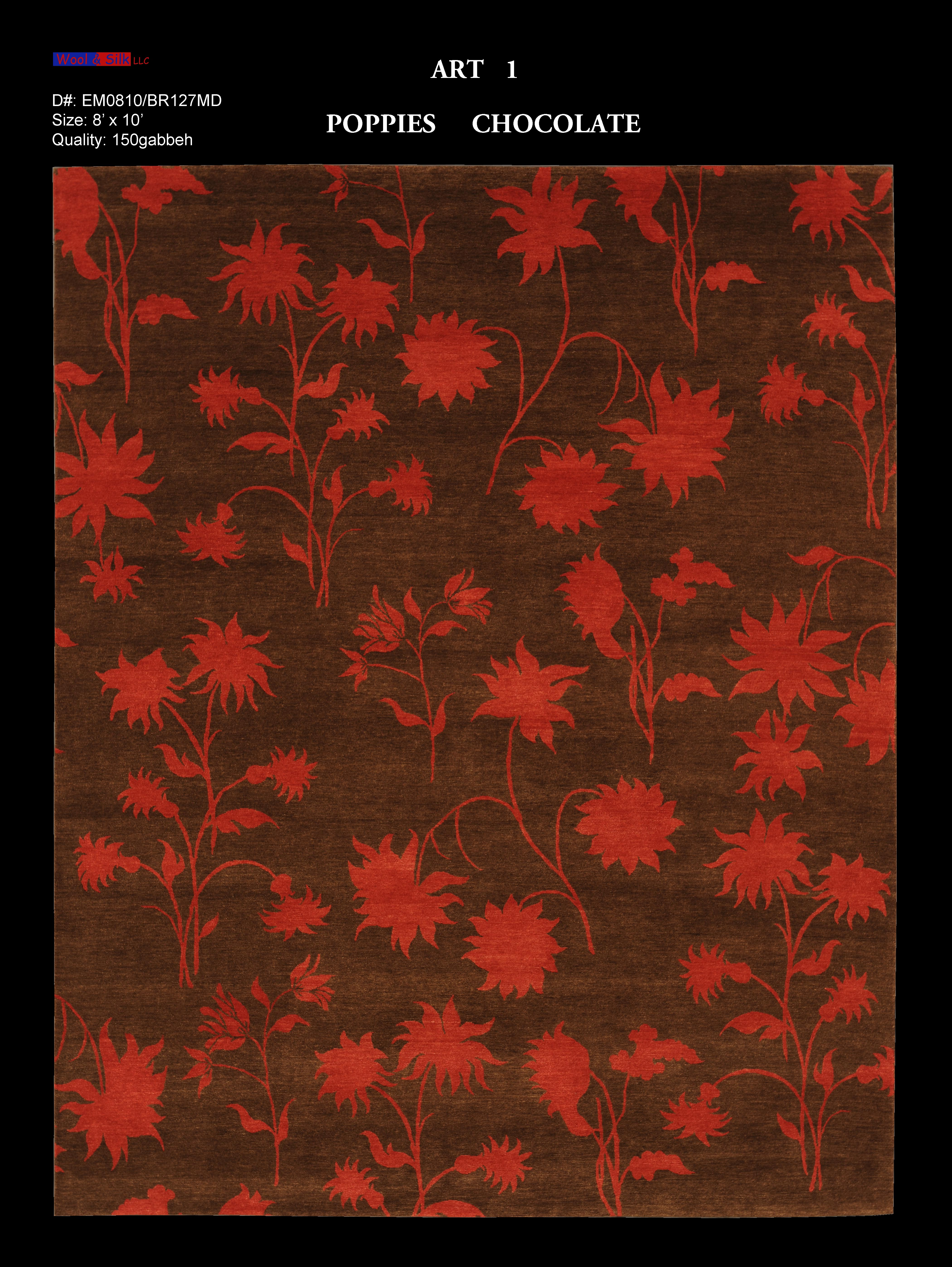 Poppies-Chocolate(EM0810-BR127) 8'x10'
