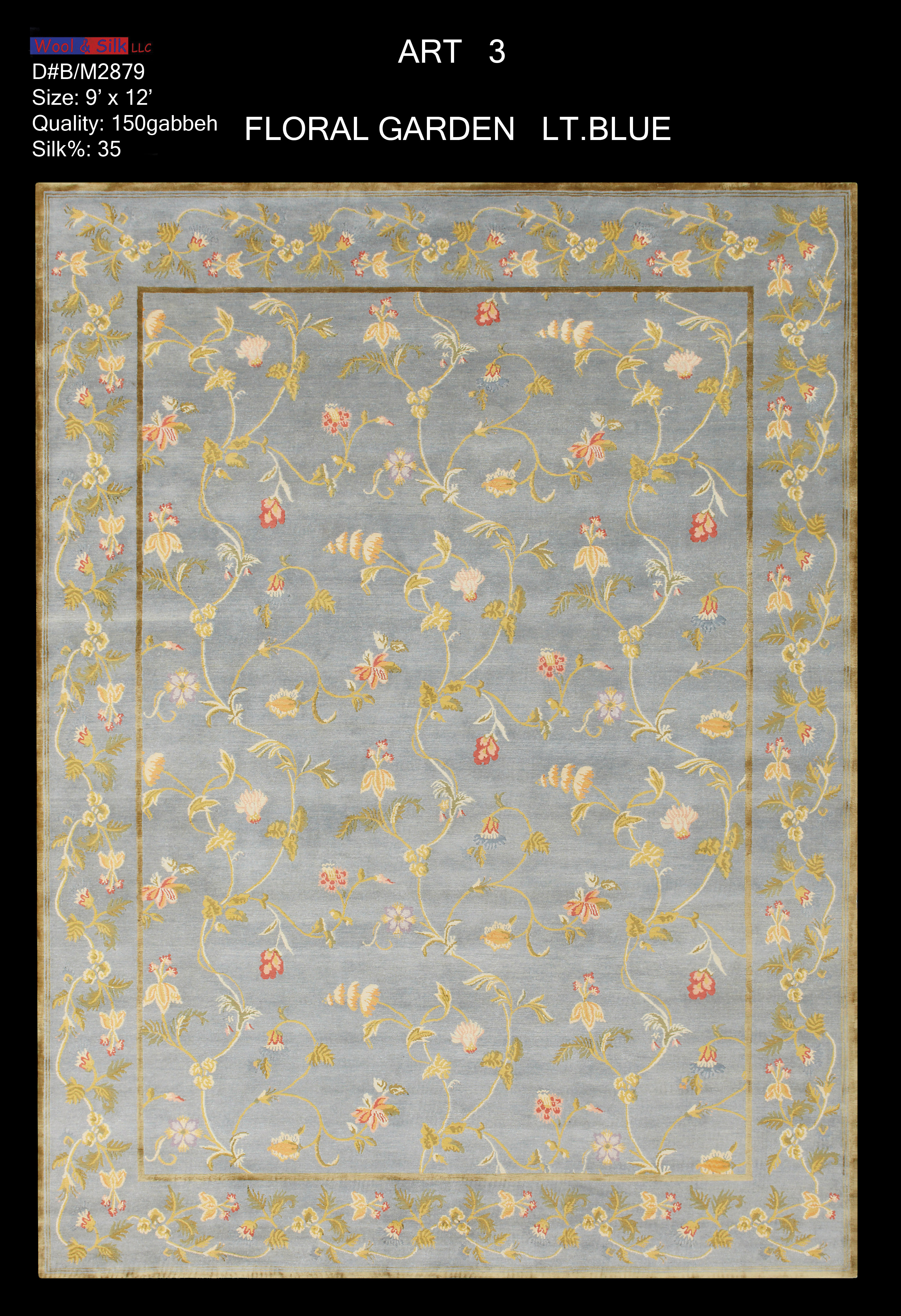 Floral Garden-Light Blue(B-M2879) 9'x12'