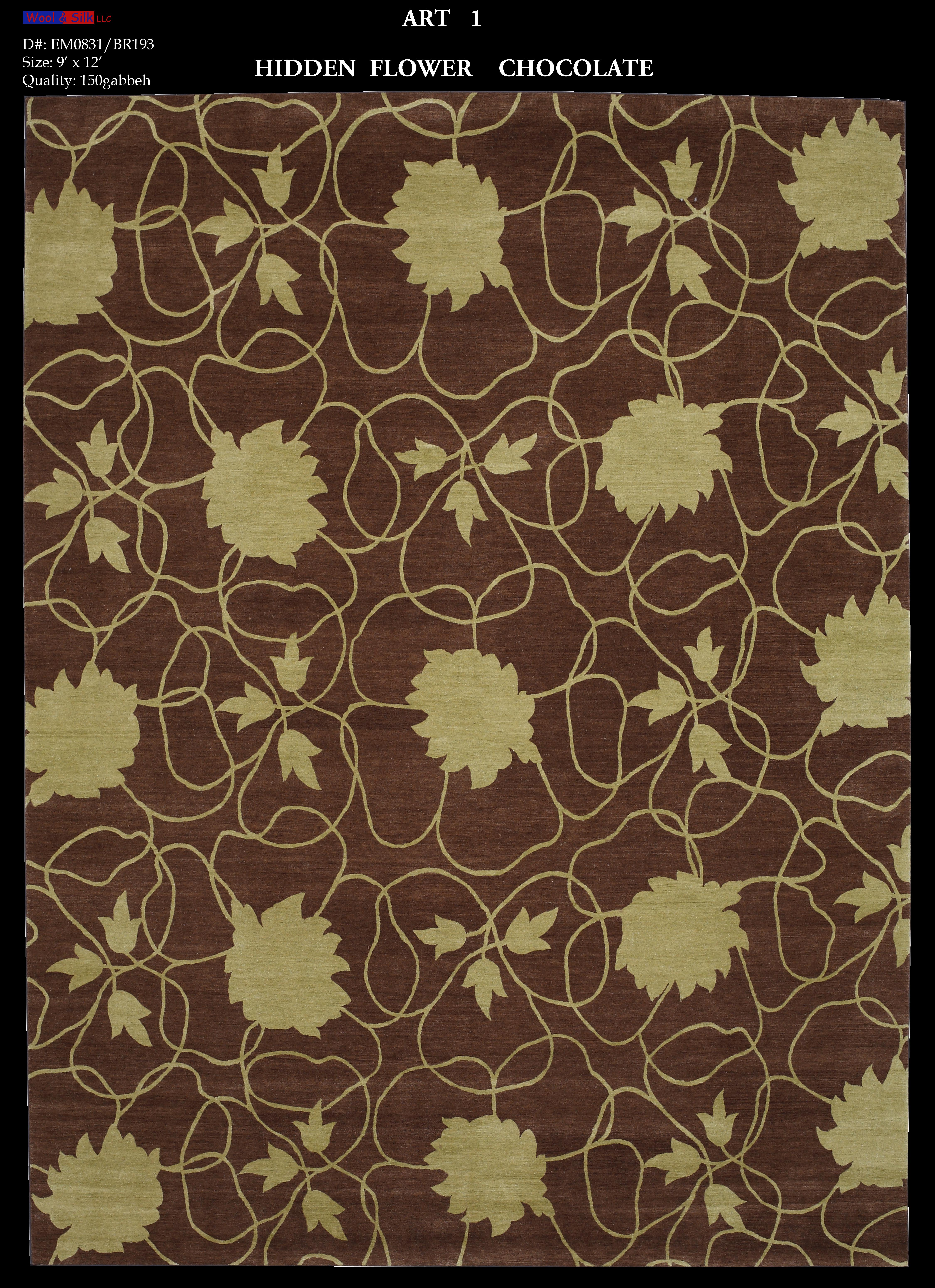 Hidden flower-Chocolate(EM0831-BR193) 9'x12'Hidden flower