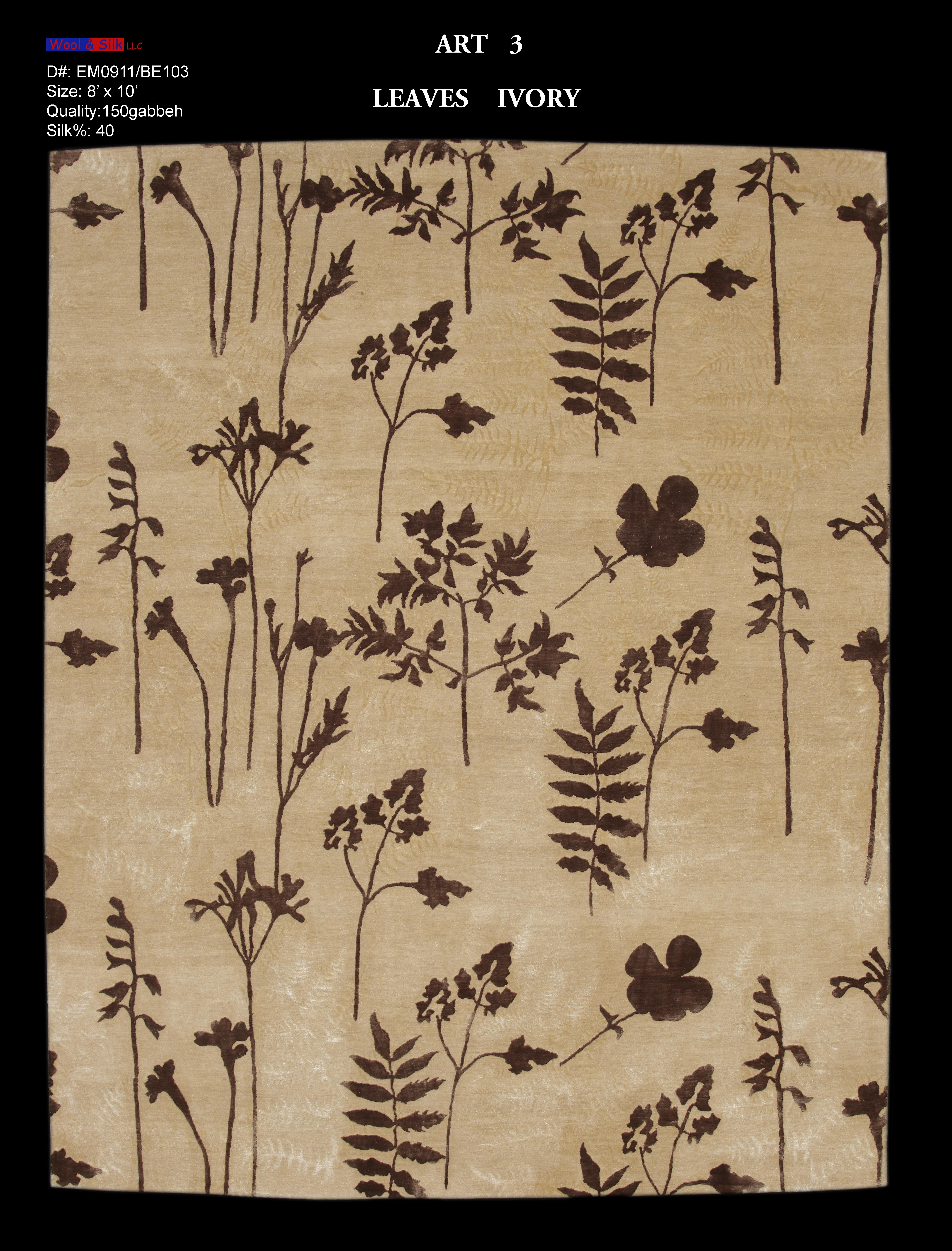 Leaves-Ivory(EM0911-BE103) 8'x10'