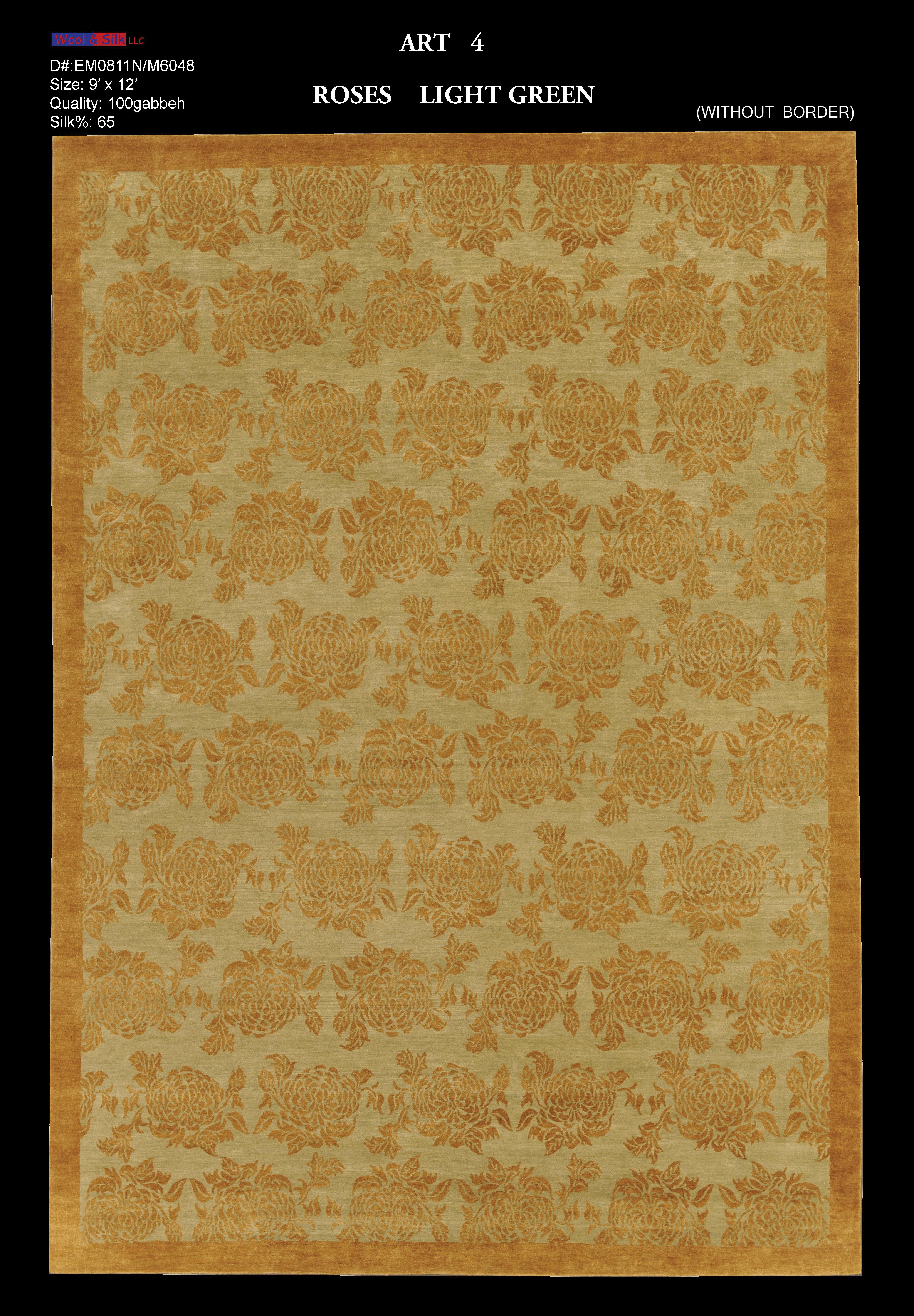 Roses-Light Green(EM0811N-M6048) 9'X12' Without Border