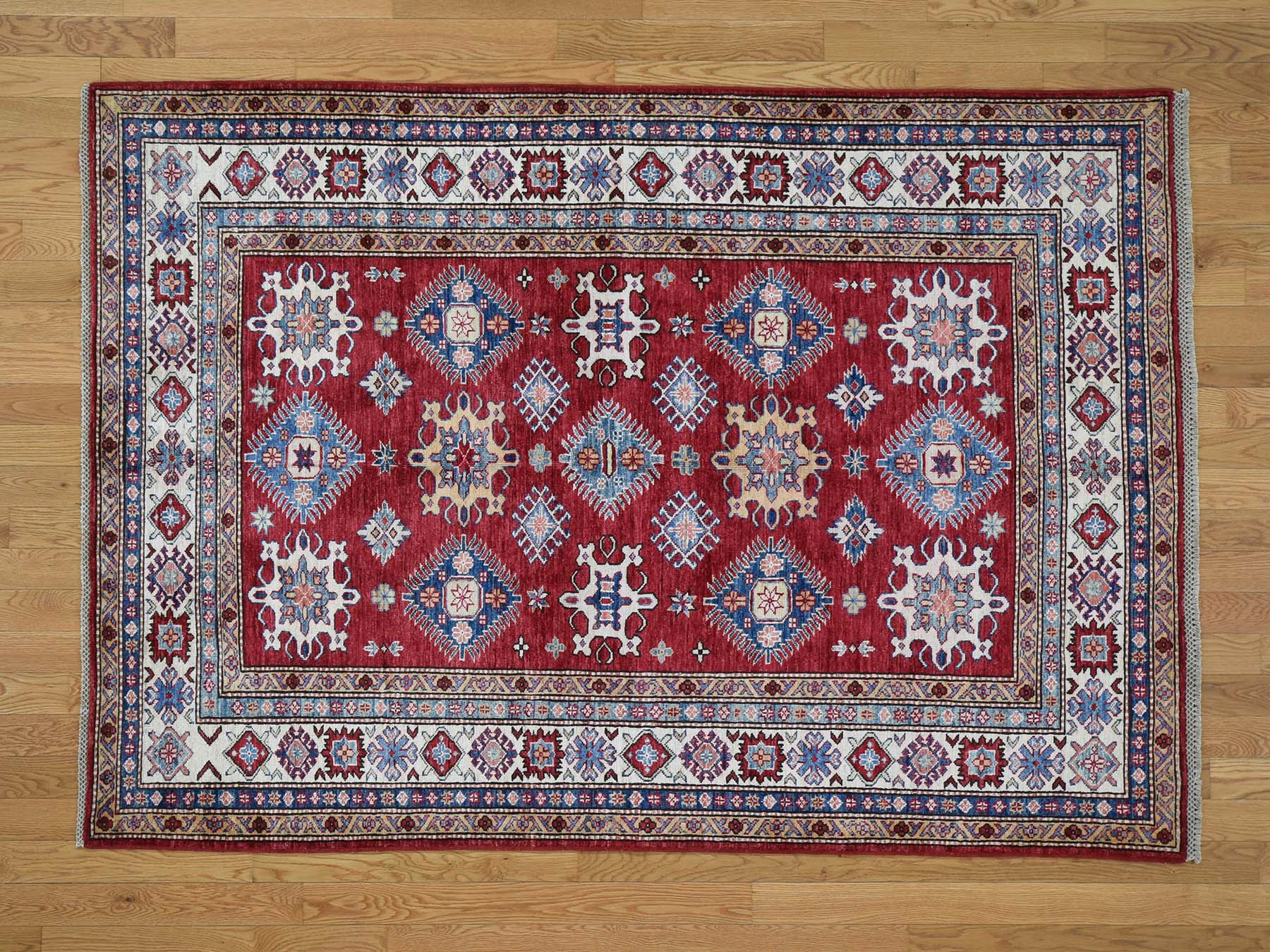 5 2 X7 3 Pure Wool Geometric Design Super Kazak Hand Knotted Oriental Rug