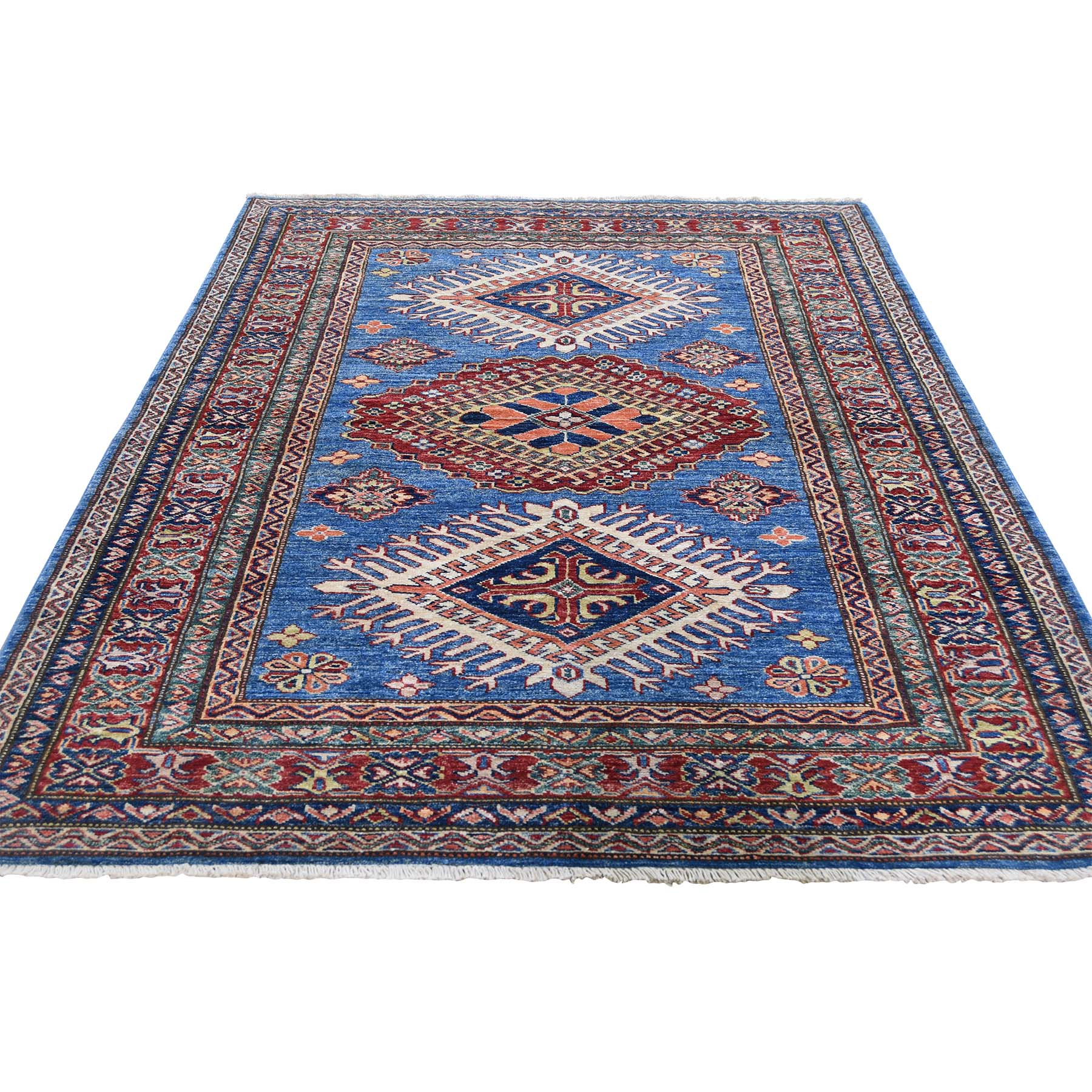 4 3 X6 2 Super Kazak Pure Wool Blue Geometric Design Hand Knotted Oriental Rug