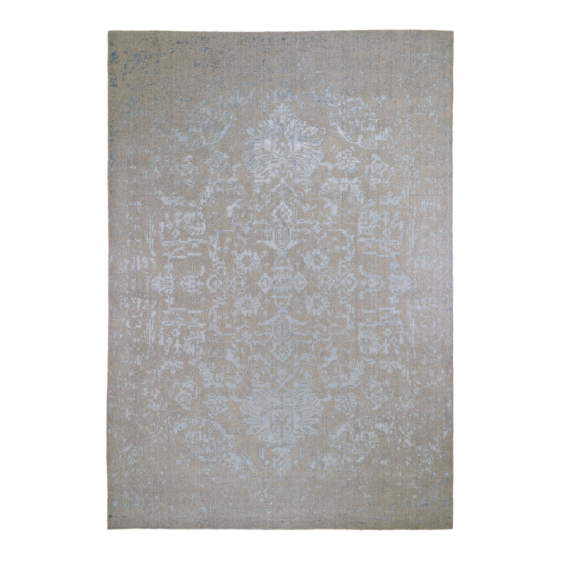 9 9 X13 10 Silken Grey Broken Persian Heriz Design Hand Loomed Oriental Rug